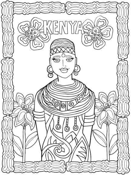 kenya coloring pages - color land 4 pages